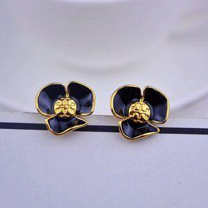 Tory Burch Enamel Black Flower Logo Earrings